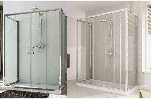 Box ducha 2 laterales fijos y doble puerta corredera H185 o 198 cm disponible en de diferentes tamaños con cristal transparente o mate: Amazon.es: Bricolaje y herramientas