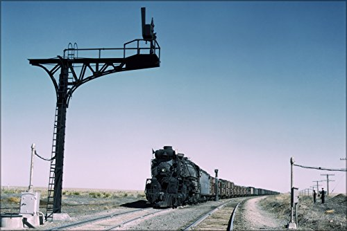 24x36 Poster . Santa Fe Railroad Freight Train Steam Engine, New Mexico 1943