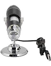 Microscopio digital USB, endoscopio de aumento 1600X, microscopio HD con 8 luces LED, soporte de 3-40 mm, enfoque manual, mini microscopio portátil para cámara, compatible con Windows 2000/XP, Vista,