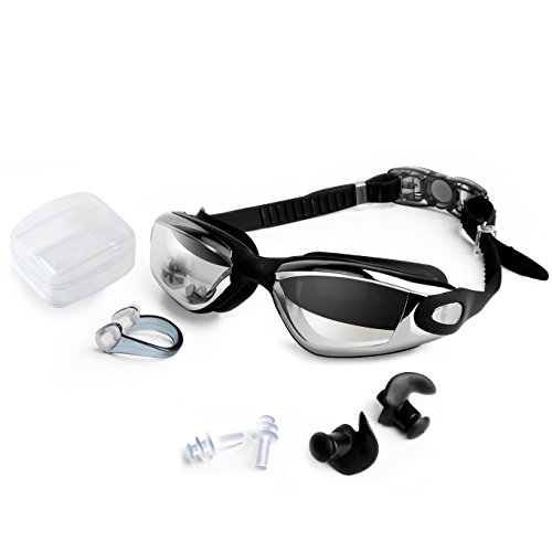Swim Goggles With FREE Ear Plugs, Nose Clip, FEIECO High-Definition Clear Swimming Goggles Unisex Adult Waterproof No Leaking Anti-fog Anti Shatter UV Protective Triathlon Swim - Wear Swim Triathlon