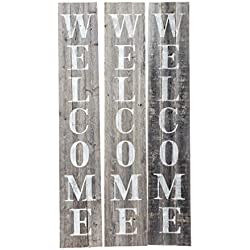 Welcome Sign for Front Porch Made with Real Rustic Reclaimed Wood - 5 feet Tall - Fixer Upper Farmhouse barn Wood Style (Grey/White)