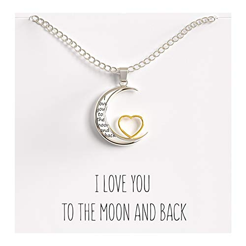 Happy Kisses I Love You to The Moon and Back Pendant Necklace, 18-Inch Silver and Gold