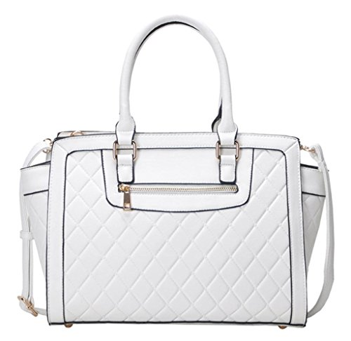 Miztique Imogen Women's White Satchel Handbag Bgt2672wht1