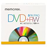 Memorex Products - DVD+RW, w/ Jewel Case, 4.7GB 5/PK