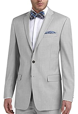 Calvin Klein Slim Fit Light Grey Textured 2 Button Flat Front New Men's Suit Set