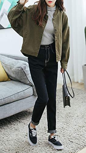 Bouton Oufour Armée Blousons Tops Longues Manteau Femmes Et Coat Verte Casual Manches Veste Avec Haut Outwear Jacket Automne Printemps xW8FxP