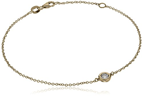 14k Yellow Gold Solitaire Bezel Set Diamond with Lobster Clasp Strand Bracelet (1/10cttw, J-K Color, I2-I3 Clarity)