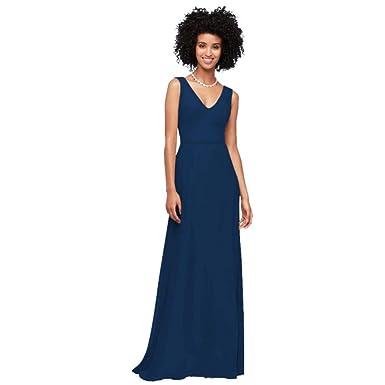ea8b56d5113 David s Bridal Chiffon V-Neck Tank Bridesmaid Dress Style F19938 at ...