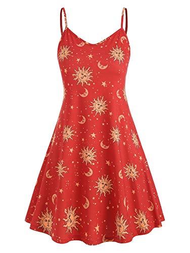 KCatsy Sun Stars Moon Print Plus Size Trapeze Dress Red