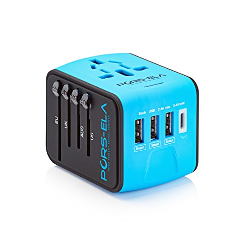 International Travel Power Adapter with 3.4A 3 USB + Type C Charger...