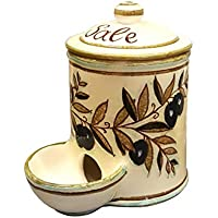 CERAMICHE D'ARTE PARRINI- Italian Ceramic Jar Salt Holder Decorated Country Hand Painted Made in ITALY Tuscan Art Pottery
