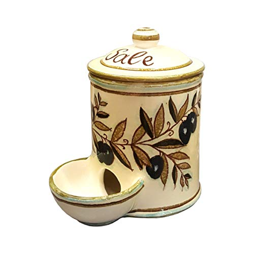 - CERAMICHE D'ARTE PARRINI- Italian Ceramic Jar Salt Holder Decorated Country Hand Painted Made in ITALY Tuscan Art Pottery