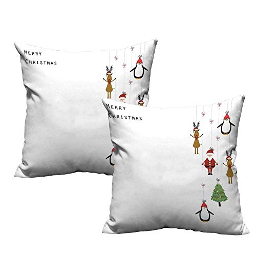WinfreyDecor Customized Pillowcase Christmas Stylized Reindeers Santa Claus Penguins and Xmas Tree on Stripes Cute Design Mildew Proof W17 x L17 Multicolor