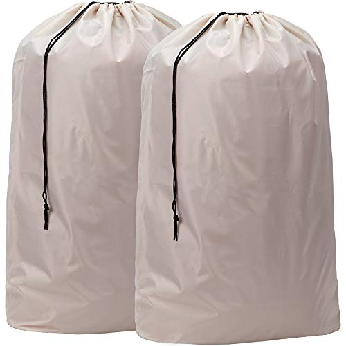 HOMEST 2 Pack Nylon Laundry Bag, 28 x 40 Inches Travel Drawstring Bag, Rip-Stop Large Hamper Liner, Machine Washable, Beige