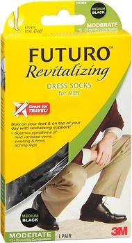 Futuro Revitalizing Dress Socks for Men Moderate Compression Medium Black - 1 pr, Pack of 5