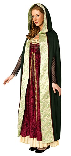 Deluxe Renaissance Queen Costumes (Rubie's Costume Deluxe Hooded Camelot Cape, Green, Standard Costume)