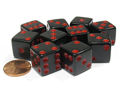 (Set of 10 Six Sided Square Opaque 16mm D6 Dice - Black with Red Pip Die by Koplow Games )