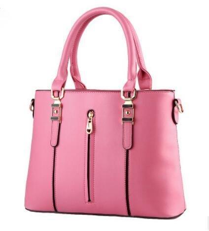 LDMB Bolsos para mujer PU cuero primavera modelos OL viajero femenino sección Vertical cremallera Prüne Mensajero , days blue Pink