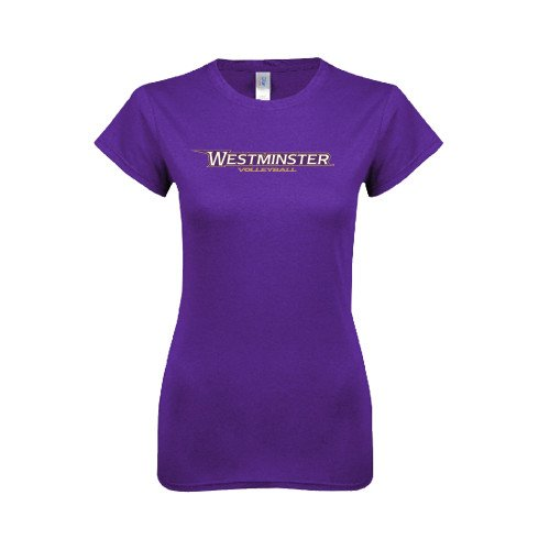 Westminster College Next Level Ladies Softstyle Junior Fitted Purple Tee 'Volleyball'