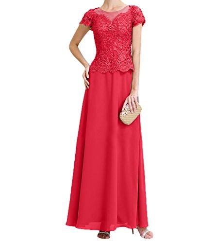 Kurzarm Chiffon Rot Damen Brautmutterkleider Lang A Promkleider Rock Spitze Abschlussballkleider Festlichkleider Linie Charmant SawAqZ5nZ
