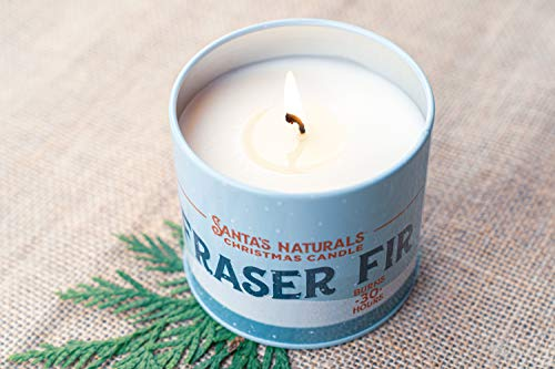 Santa's Naturals Fraser Fir Christmas Candle | Fresh Cut Christmas Tree Fragrance | Made with a Soy/Beeswax Blend | 30… - CHRISTMAS TREE SCENT: Notes of Fraser Fir and Cedarwood create a nostalgic scent of a fresh-cut Christmas tree in your home INGREDIENTS: Soy Wax, Beeswax, Plant Based Essential Oils, and Premium Fragrance Oils LONG-LASTING: Enjoy up to 30 hours of burn time with our 9oz Fraser Fir Candles - living-room-decor, living-room, candles - 41tTeAOzlfL -