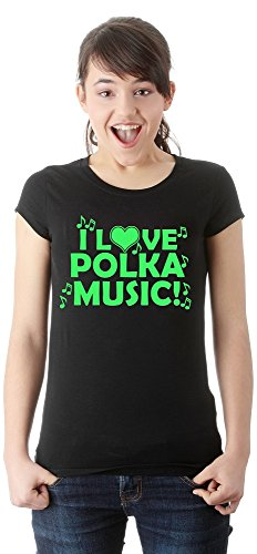 ZETAMARKT T-Shirt Donna I Love Polka Music Dance Girls Funny Shirt Personalizzata Damen Shirt