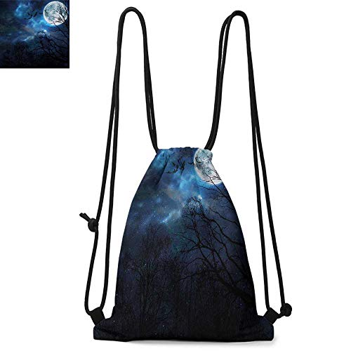 Halloween Easy to carry drawstring backpac Bats Flying in Majestic Night Sky Moon Nebula Mystery Leafless Trees Forest Durable Drawstring Backpack W13.4 x L8.3 Inch Blue Black White -