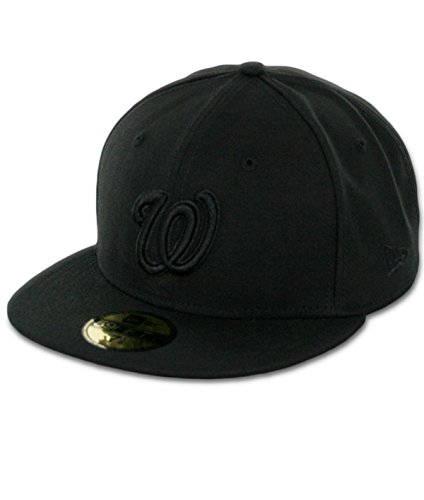 Home 59fifty Hats (MLB Washington Nationals Black with Black Home Logo 59FIFTY Fitted Cap, 7 3/4)