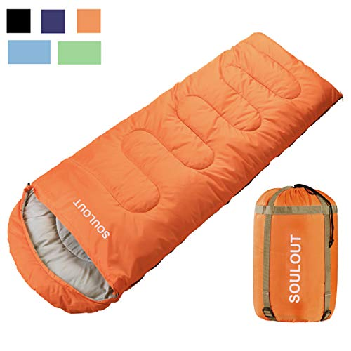 Envelope Sleeping Bag - 4 Seasons Warm Cold Weather Lightweight, Portable, Waterproof With Compression Sack for Adults & Kids - Indoor & Outdoor Activities: Traveling, Camping, Backpacking, Hiking Red