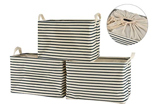 Perber Collapsible Storage Basket Bins [3-Pack], Foldable Canvas Fabric Storage Cubes Box Containers with Handles- 15inch Large Organizer for Nursery Toys,Kids Room,Towels,Clothes, Blue Strips ()