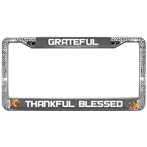 (GND Grateful Thankful Blessed Bling License Plate Frame for Women,Thanksgiving Day Bling Luxury Rhinestones License Plate Frame for US Canada Vehicles)