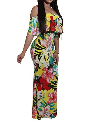 Coolred-femmes Hors Épaule Florale Printemps Queue De Poisson Flouncing Maxi Long Motif1 Robe