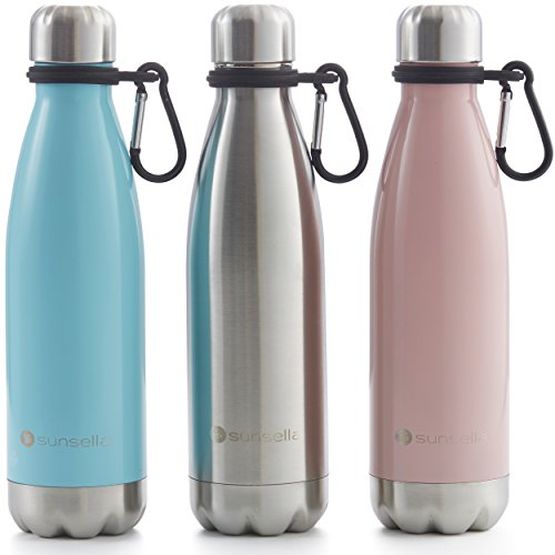 Stainless Drink Steel Containers (Vacuum Insulated Stainless Steel Water Bottle With Carrier Clip – Leakproof Double Wall - 17 Ounce – Drinks 24 Hour HOT and COLD. By Sunsella (Light Blue))