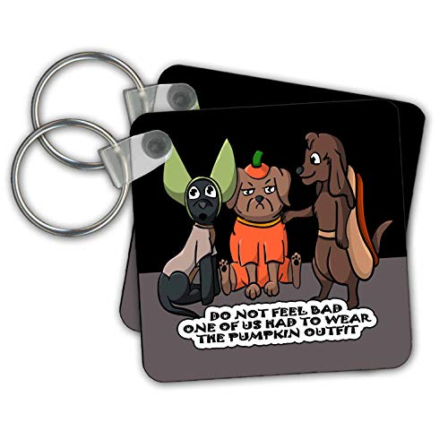 Sandy Mertens Halloween Designs - Dog Costume Cartoon, Funny Quote with Pumpkin Outfit, 3drsmm - Key Chains - set of 2 Key Chains (kc_290229_1)]()