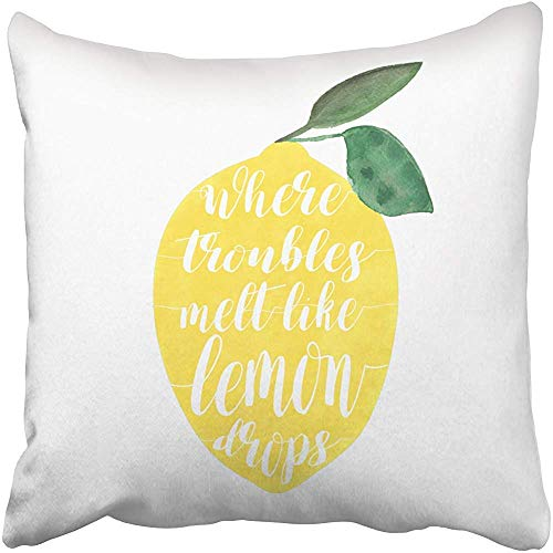 GRATIANUS Where Troubles melt Like Lemon Drops Decorative Throw Pillow Case 18 x 18 Inch,Home Decoration Pillowcase Zippered Pillow Covers Cushion Cover with Words for Book Lover Worm Sofa Couch