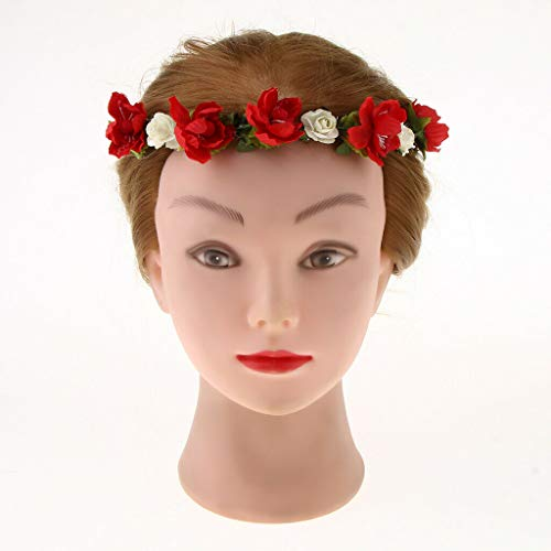 - Boho Floral Flower Crown Head Band Hair Garland Wedding Party Headpiece |Color - Red|