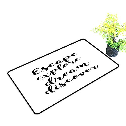 Zmstroy Bedroom Doormat Explore Hand Drawn Brush Calligraphy Quote Escape Explore Dream Discover Lettering W24 xL35 Machine wash/Non-Slip Black and White