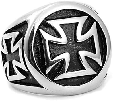 ジュエリー メンズリング、レトロクロス、パンク (Color : Silver, Size : 13)
