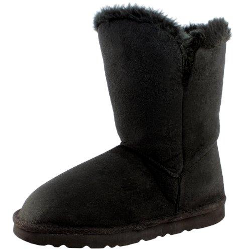 Damen Schuhe Single Knopf Fell Schnee Regen Stiefel Winter Fur Boots - Schwarz - 41 - AEA0079