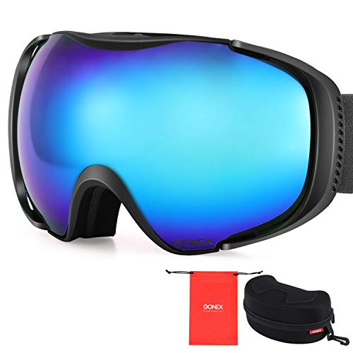 Gonex Polarized Ski Goggles Anti-Fog Anti-Glare Snow Goggle UV400 Protection with Oversized Double Spherical Lens for Skiing Snowboard Skate Winter Sports+ Goggle Case REVO Black Frame Blue Lens