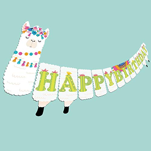 (Joy Day Llama Banner Happy Birthday Banner Llama Party Supplies DIY Fiesta Cactus Party Decorations Llama Baby Shower Party Banner Favors for Kids)
