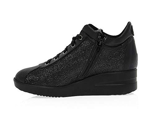 82504black Donna Sneakers Nero Ruco Tessuto Line n4qwYROHZx
