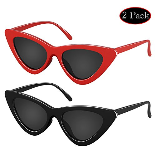 Elimoons Retro Vintage Narrow Cat Eye Sunglasses for Women Clout Goggles Plastic Frame 2 Pack Black Red Plastic Women Sunglasses