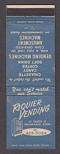 Riquier Vending & Amusement Machines 54 Center St Willimantic CT matchcover