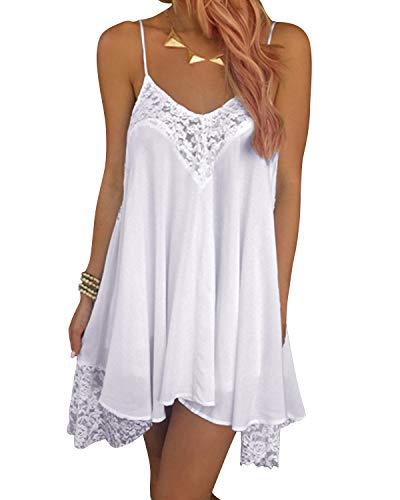 SUNNYME Women's Floral Straps Dresses Midi Off Shoulder A Line Dress Casual Evening Party Dress X-White S