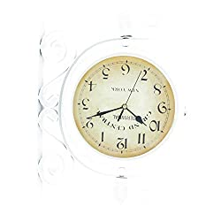 ColouredPeas 8 inch Vintage-Inspired Double Sided Wall Clock Wrought Iron Antique-Look Brown Round Wall Hanging Double Sided Two Faces Retro Station Clock with 360 Degree Rotation Home Décor (White)