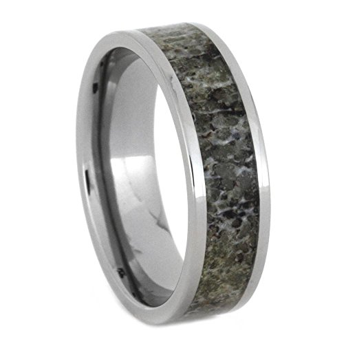 Deer Antler Inlay 6mm Comfort-Fit Titanium Band and Sizing Ring, Size, 5.75 by The Men's Jewelry Store (Unisex Jewelry)