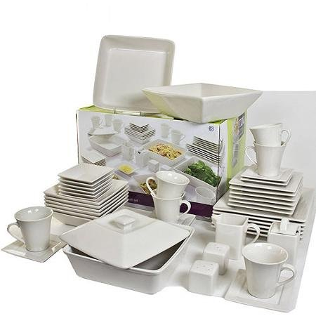 10 Strawberry Street Nova Square Banquet 45-Piece Dinnerware Set (Cream White) (White Dish Set compare prices)