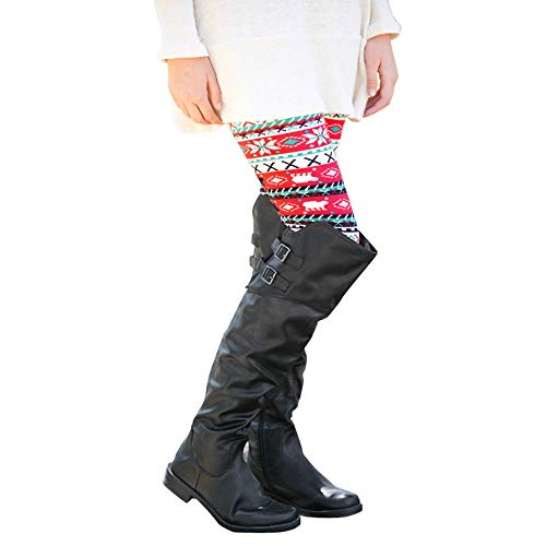 JOFOW Womens Leggings Christmas Costume Striped Patterned High