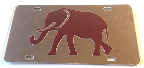 Alabama Crimson Tide Red Elephant Silver Mirrored License Plate - BAMA Car -